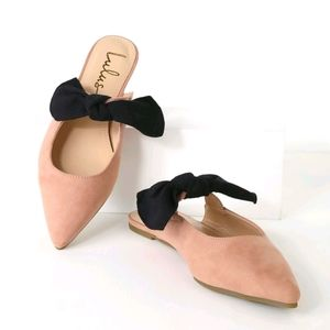 New Blush Suede Pointed Toe Bow Mules